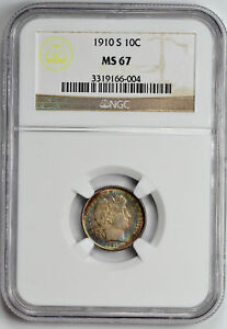 Click now to see the BUY IT NOW Price! 1910 S BARBER 10C NGC MS 67