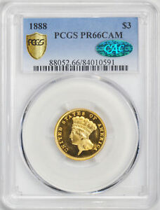 Click now to see the BUY IT NOW Price! 1888 INDIAN PRINCESS $3 PCGS PR 66 CAM