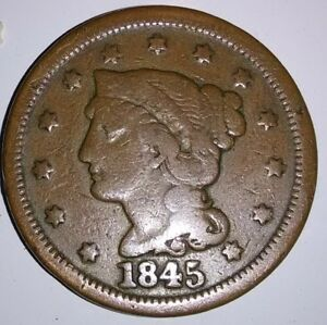 1845 US BRAIDED HAIR LARGE CENT