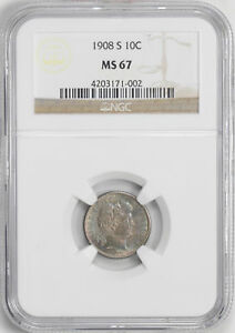 Click now to see the BUY IT NOW Price! 1908 S BARBER 10C NGC MS 67