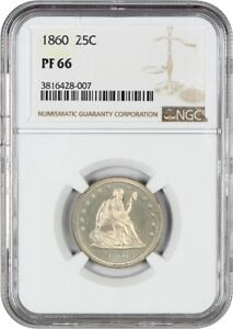 Click now to see the BUY IT NOW Price! 1860 25C NGC PR 66   GORGEOUS NO MOTTO PROOF   LIBERTY SEATED QUARTER