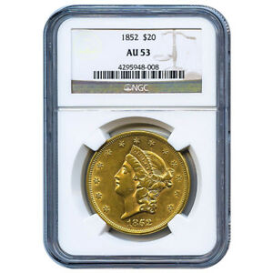 CERTIFIED US GOLD $20 LIBERTY 1852 AU53 NGC