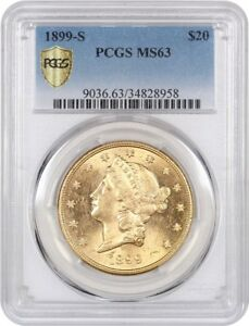 1899 S $20 PCGS MS63   LIBERTY DOUBLE EAGLE   GOLD COIN   FROSTY LUSTER