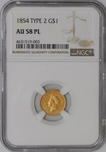 Click now to see the BUY IT NOW Price! 1854 TYPE 2 $ GOLD INDIAN DOLLAR 2870 23 AU58 PL NGC