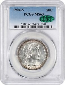 Click now to see the BUY IT NOW Price! 1904 S 50C PCGS/CAC MS63   KEY DATE BARBER HALF DOLLAR   BARBER HALF DOLLAR