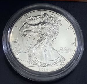 2014 W AMERICAN SILVER EAGLE WITH BOX AND COA PAPER .999 TROY OZ SILVER