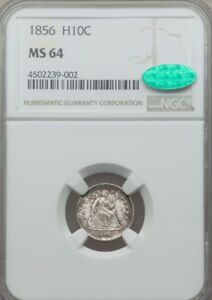 1856 SEATED LIBERTY HALF DIME NGC MS64 CAC