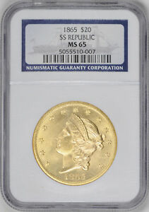 Click now to see the BUY IT NOW Price! 1865 LIBERTY $20 NGC MS 65