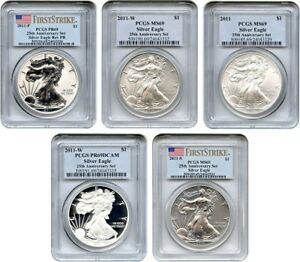 2011 W 25TH ANNIVERSARY SILVER EAGLE SET $1 PCGS MS/PR 69  5 COINS    5 COIN SET