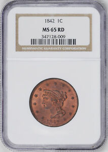 Click now to see the BUY IT NOW Price! 1842 BRAIDED HAIR 1C NGC MS 65 RD