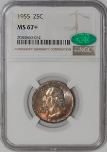 Click now to see the BUY IT NOW Price! 1955 WASHINGTON QUARTER 25C 938939 40 MS67  COLOR NGC   CAC
