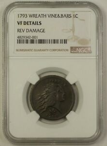 Click now to see the BUY IT NOW Price! 1793 WREATH CENT 1C WHISKEY REBELLION NGC VF DETAILS REV DAMAGE  SEE DESCRIPTION