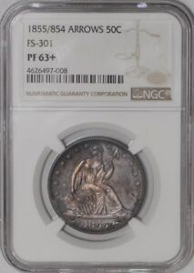 Click now to see the BUY IT NOW Price! 1855/854 SEATED LIBERTY HALF 50C ARROWS FS 301 938846 3 PF63  NGC