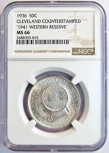 Click now to see the BUY IT NOW Price! 1936 CLEVELAND COMM HALF DOLLAR 1941 WESTERN RESERVE COUNTERSTAMP NGC MS 66