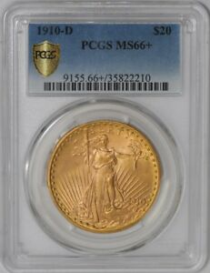 1910 D $20 SAINT GAUDENS 938848 2 MS66  SECURE PLUS PCGS