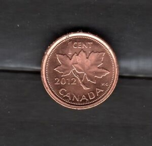 2012 ONE CENT CANADA ZINC UNCIRCULATED CANADIAN PENNY NON MAGNETIC FROM ROLL