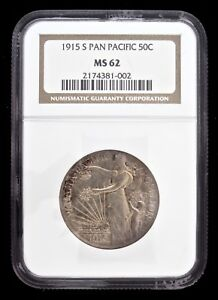 1915 S PAN PAC EXPOSITION COMMEMORATIVE SILVER HALF DOLLAR NGC MS62
