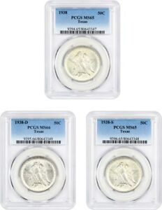 Click now to see the BUY IT NOW Price! SET OF 1938 TEXAS 50C PCGS MS65 66  3 COINS  LOW MINTAGE ISSUE