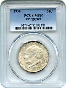 Click now to see the BUY IT NOW Price! 1936 BRIDGEPORT 50C PCGS MS67   SILVER CLASSIC COMMEMORATIVE