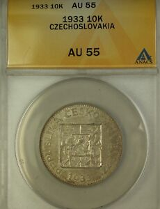 Click now to see the BUY IT NOW Price! 1933 CZECHSLOVAKIA 10K SILVER COIN ANACS AU 55  COIN
