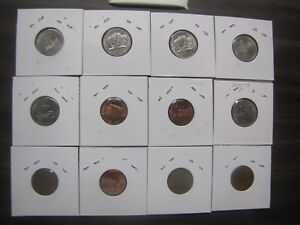 12 COINS LOT : WHEAT PENNIES LINCOLN CENTS JEFFERSON NICKLES LEWIS & CLARK