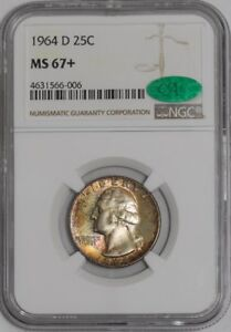 Click now to see the BUY IT NOW Price! 1964 D WASHINGTON QUARTER 25C 939112 52 COLOR MS67  NGC   CAC