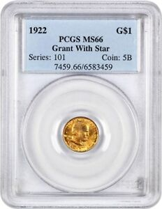 1922 GRANT WITH STAR G$1 PCGS MS66   CLASSIC COMMEMORATIVE   GOLD COIN