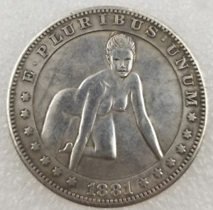 MUSEUM QUALITY 1881 U.S HOBO BEAUTY PATTERN SILVER COMMEMORATIVE COIN J392