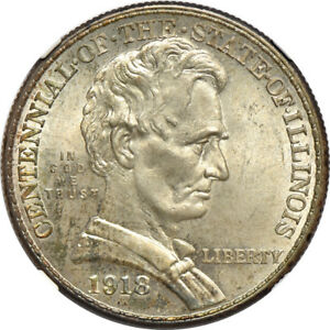 1918 LINCOLN ILLINOIS CENTENNIAL MS / MINT STATE 65 NGC 50C C34580