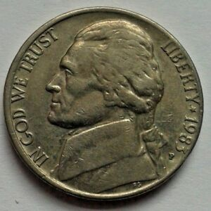 1983 FIVE CENTS USA COIN JEFFERSON NICKEL COIN UNITED STATES OF AMERICA