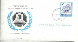 UNITED NATIOANS SILVER STAMP FDC WTH 1/2 OZ SILVE MEDAL OF AUSTRIA 1973