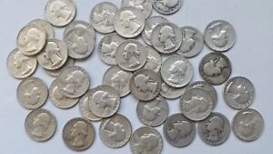 $10 FACE VALUE 40 WASHINGTON 90  SILVER QUARTERS 1964 AND OLDER
