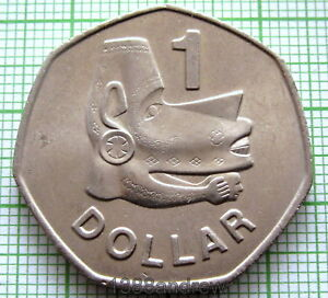SOLOMON ISLANDS ELIZABETH II 1977 DOLLAR NUSU NUSU HEAD   SEA SPIRIT UNC