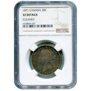 CANADA 50 CENTS 1871 L.C.W. XF DETAILS NGC