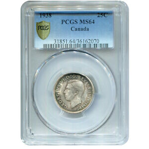 CANADA 25 CENTS SILVER 1938 MS64 PCGS