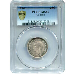 CANADA 25 CENTS SILVER 1940 MS66 PCGS