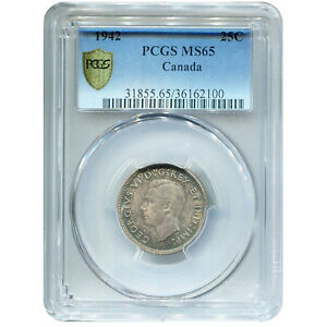 CANADA 25 CENTS SILVER 1942 MS65 PCGS