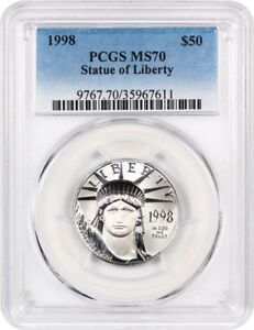 Click now to see the BUY IT NOW Price! 1998 PLATINUM EAGLE $50 PCGS MS70   STATUE LIBERTY 1/2 OZ