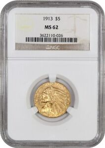 1913 $5 NGC MS62   INDIAN HALF EAGLE   GOLD COIN   TERRIFIC LUSTER