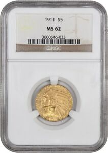 1911 $5 NGC MS62   INDIAN HALF EAGLE   GOLD COIN   WELL STRUCK ORIGINAL GOLD