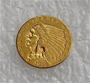1914 D USA $2 1.2 DOLLARS GOLD COIN 1/4 EAGLE INDIAN  XF