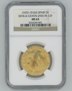 Click now to see the BUY IT NOW Price! SEVILLE SPAIN 1476 1516 FERDINAND & ISABELLA GOLD 2EXCELENTES  NGC MS63 FR 129
