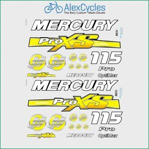 Mercury 115 HP Optimax ProXS Outboadrs Motor Blue-Silver Laminated Decals Boat
