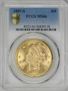 Click now to see the BUY IT NOW Price! 1857 S LIBERTY HEAD $20 PCGS MS 66
