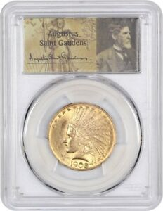 1908 $10 PCGS MS62  WITH MOTTO   DATE   INDIAN EAGLE   GOLD COIN