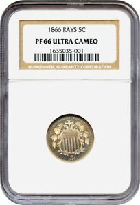 Click now to see the BUY IT NOW Price! 1866 5C NGC PR 66 UCAM  WITH RAYS   PROOF TYPE   SHIELD NICKEL