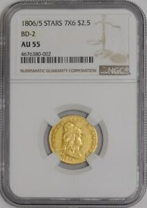 Click now to see the BUY IT NOW Price! 1806/5 $2 1/2 GOLD CAPPED BUST STARS 7X6 BD 2 939270 2 AU55 NGC