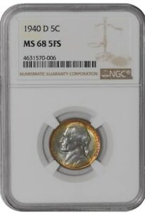 Click now to see the BUY IT NOW Price! 1940 D JEFFERSON NICKEL 5C 938384 1 MS68 5FS COLOR NGC