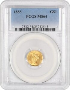 Click now to see the BUY IT NOW Price! 1855 G$1 PCGS MS64  TYPE 2  POPULAR &  TYPE 2 GOLD DOLLAR   1 GOLD COIN