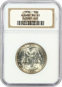 1936 ALBANY 50C NGC MS65  OH  LOW MINTAGE ISSUE OLD NGC HOLDER